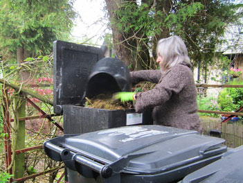 Marilyn adds Guest Food Waste into the HOTBIN Composter